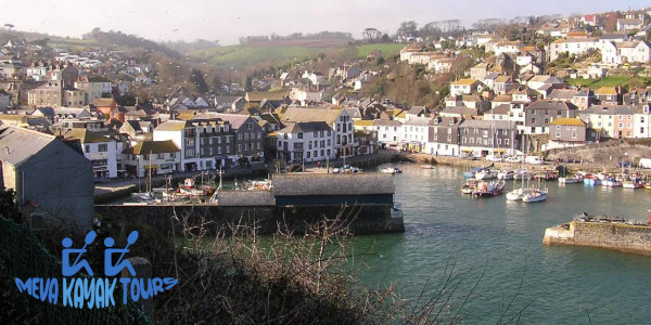 Mevagissey harbour with MKT logo